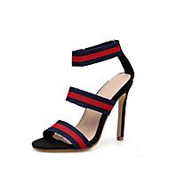 baratos Sapatos Femininos-Mulheres Couro Ecológico Verão Casual Sandálias Salto Agulha Dedo Aberto Azul Marinho / Estampa Colorida
