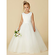 cheap -A-Line Floor Length Flower Girl Dress - Satin / Tulle Sleeveless Jewel Neck with Bow(s) / Buttons by LAN TING BRIDE®