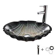 Pia de Banheiro / Torneira de Banheiro / Anél de Instalação de Banheiro Moderna - Vidro Temperado Redondo