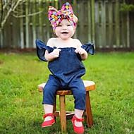 Bebek Genç Kız Temel Günlük Solid / Desen Temel Kısa Kol Pamuklu / Akrilik Tek Parça Navy Mavi / Toddler