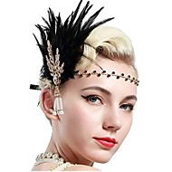 cheap -The Great Gatsby Vintage 1920s Costume Women's Flapper Headband Headwear Black / Golden Vintage Cosplay Feather Party Prom Sleeveless