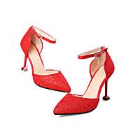 baratos Sapatos Femininos-Mulheres Renda / Sintéticos Primavera Verão Doce / Minimalismo Sapatos De Casamento Salto Sabrina Dedo Fechado Vermelho / Festas & Noite