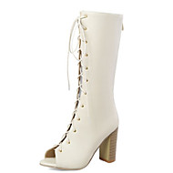 baratos Sapatos Femininos-Mulheres Couro Ecológico Primavera Verão Botas Salto Robusto Peep Toe Botas Cano Alto Preto / Bege / Vermelho