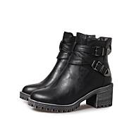 baratos Sapatos Femininos-Mulheres Couro Ecológico Outono & inverno Casual / Minimalismo Botas Salto de bloco Dedo Fechado Botas Cano Médio Preto / Cinzento