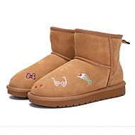 baratos Sapatos de Menina-Para Meninas Sapatos Sintéticos Inverno Botas de Neve Botas Flor de Cetim para Infantil Preto / Camel
