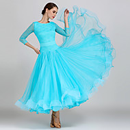 cheap -Ballroom Dance Dresses Women's Training / Performance Lace / Organza Lace 3/4 Length Sleeve High Dress / Belt