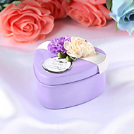 Heart Shape Metal Favor Holder with Satin Bow Gift Boxes - 12pcs