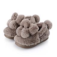 baratos Sapatos de Menina-Para Meninas Sapatos Pêlo de Coelho Primavera & Outono / Inverno Conforto / Forro de peles Chinelos e flip-flops Pom Pom para Infantil Marron / Khaki