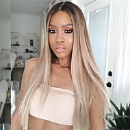 Virgin Human Hair / Remy Human Hair Full Lace Wig Brazilian Hair Natural Straight / Silky Straight Wig Middle Part / Side Part / With Ponytail 130% Soft / Natural Hairline / Middle Part Blonde Women's