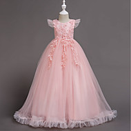 cheap -A-Line Floor Length Flower Girl Dress - Polyester / Tulle Short Sleeve Jewel Neck with Bow(s) / Butterfly by LAN TING Express