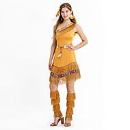 Amerikan intiaani Asu Naisten Asut Ruskea Vintage Cosplay Lyhythihainen Holkki Puolitiukka Mini