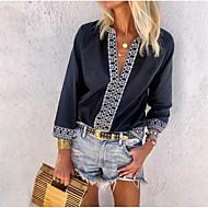 저렴한 -여성용 플로럴 딥 V 플러스 사이즈 셔츠, 캐쥬얼 클로버 XXXL