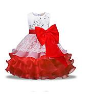 Enfants Fille Basique Quotidien Couleur Pleine Manches Longues Polyester Robe Rouge