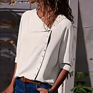 Krave Tynd Dame - Ensfarvet Basale Skjorte Navyblå L