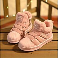 tanie Obuwie chłopięce-Dla chłopców / Dla dziewczynek Obuwie Skóra patentowa Zima Modne obuwie / Futro lining Botki Zamek / Tasiemka na Dzieci Czarny / Różowy / Khaki