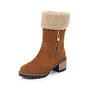 baratos Sapatos Femininos-Mulheres Couro Sintético Outono & inverno Botas Salto Robusto Ponta Redonda Botas Curtas / Ankle Preto / Amarelo