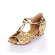 cheap -Women's Latin Shoes / Ballroom Shoes Leatherette Sandal Low Heel Non Customizable Dance Shoes Silver / Gold / Kid's / Suede