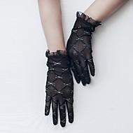 תחרה / טול אורך פרק כף היד כפפה סגנון וינטאג' / כפפות עם קשת לבנה / הדפס / Paillette