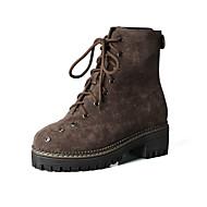 baratos Sapatos Femininos-Mulheres Camurça Outono & inverno Casual / Minimalismo Botas Sem Salto Dedo Fechado Botas Cano Médio Preto / Marron