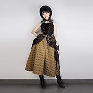 Fantasias Steampunk Ocasiões Especiais Mulheres Vestidos Marrom Preto Vintage Cosplay Sem Manga