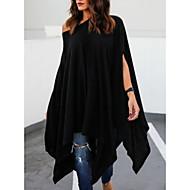 女性用 Tシャツ ストリートファッション ワンショルダー ルーズ ソリッド ブラック XXXL