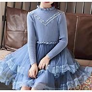 فستان كم طويل لون سادة أساسي للفتيات أطفال / قطن
