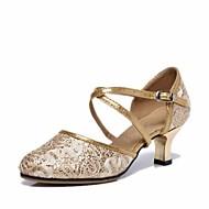 billige Moderne sko-Dame Moderne sko Blonder Høye hæler Kubansk hæl Kan spesialtilpasses Dansesko Sølv / Blå / Rosa
