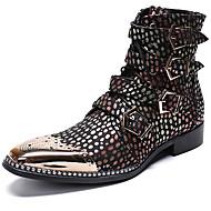 billige Herresko-Herre Fashion Boots Nappalæder Vinter Afslappet / Britisk Støvler Hold Varm Støvletter Regnbue / Fest / aften