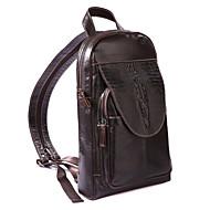 男女兼用 バッグ スリングショルダーバッグ エンボス加工 純色 ブラック / Dark Brown