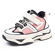 baratos Sapatos de Menino-Para Meninos / Para Meninas Sapatos Couro Inverno Conforto Tênis Velcro para Infantil Preto / Rosa claro / Estampa Colorida