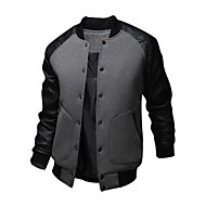 cheap -Men's Daily / Weekend Active Fall / Winter Regular Bomber Jacket, Patchwork Long Sleeve Cotton / Polyester Black / Dark Gray / Light gray L / XL / XXL