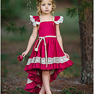cheap -Kids Girls' Street chic Party Solid Colored Lace Sleeveless Asymmetrical Polyester Dress Red