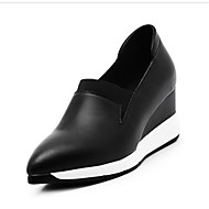 نسائي Leather نابا الربيع المتسكعون وزلة الإضافات كعب إسفينWedge Heel أبيض / أسود