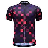 JESOCYCLING Men's Short Sleeve Cycling Jersey - Black Bike Jersey Top Quick Dry Sports 100% Polyester Mountain Bike MTB Road Bike Cycling Clothing Apparel / Stretchy / Multi-panel Construction