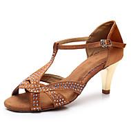 Per donna Scarpe per balli latini Raso Tacchi Brillantini / Dettagli con cristalli / Lustrini Tacco cubano Personalizzabile Scarpe da ballo Marrone