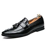 tanie Obuwie męskie-Męskie formalne Buty Syntetyki Wiosna i jesień Biznes / W stylu brytyjskim Mokasyny i buty wsuwane Antypoślizgowe Czarny / Wino