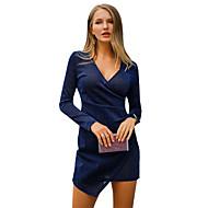 여성용 데이트 작동 보호 스트리트 쉬크 슬림 A 라인 칼집 드레스 - 솔리드 하이 웨스트 미니 딥 V / 섹시