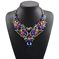 cheap -Women's Statement Necklace Bib necklace Rhinestone Swan Animal Statement Ladies Luxury Bohemian White Red Rainbow Necklace Jewelry For Wedding Party Special Occasion Birthday Daily Masquerade