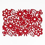 billige Bordduker-hjem multifunksjon kreativ grønn dekorasjon floral håndverk hult polyester isolasjonspute glidende anti-scalding placemat