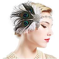 Kultahattu Vintage 1920-luku Gatsby Asu Naisten Päähine Flapper-panta Headwear Valkoinen / Musta / Vihreä ja musta Vintage Cosplay Party Prom