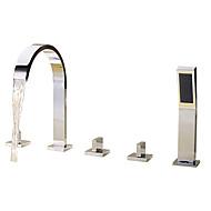 billige Rabatt Kraner-Badekarskran - Moderne Krom Romersk kar Keramisk Ventil Bath Shower Mixer Taps / Messing / Tre Håndtak fem hull