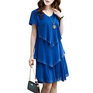 levne -Dámské Větší velikosti Šik ven Šifón Šaty - Jednobarevné, Vícevrstvé Nad kolena Modrá / Volány