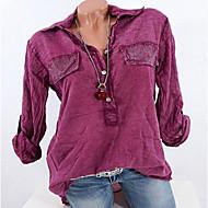 สำหรับผู้หญิง เชิร์ต พื้นฐาน ระบาย คอเสื้อเชิ้ต รูปเรขาคณิต / ฤดูใบไม้ผลิ / ฤดูร้อน / ตก / ฤดูหนาว