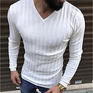 สำหรับผู้ชาย เสื้อเชิร์ต Street Chic คอวี สีพื้น ผ้าขนสัตว์สีธรรมชาติ XL / แขนยาว