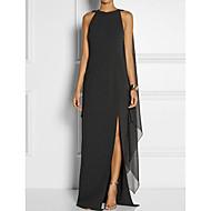 رخيصةأون -فستان نسائي قياس كبير كلاسيكي عصري أنيق متعدد الطبقات طويل للأرض أسود لون سادة مناسب للحفلات