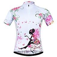 JESOCYCLING Жен. С короткими рукавами Велокофты - Белый Цветочные / ботанический Велоспорт Джерси Верхняя часть Быстровысыхающий Виды спорта 100% полиэстер Горные велосипеды Шоссейные велосипеды