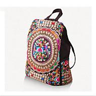 cheap School Bags-Women's Bags Canvas Backpack Zipper Rainbow