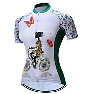 TELEYI Damskie Krótki rękaw Koszulka rowerowa - Biały Kwiatowy / Roślinny Rower Dżersej Oddychający Szybkie wysychanie Sport Poliester Kolarstwo górskie Kolarstwie szosowym Odzież / Elastyczny