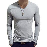 Homens Camiseta Básico Sólido Algodão Decote V Delgado Azul Claro XL / Manga Longa / Primavera / Outono