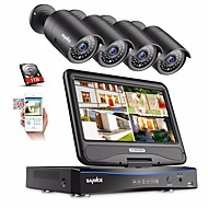 sannce® 4ch 1080p 4pcs κατασκευής lcd dvr αδιάβροχο σύστημα παρακολούθησης συστήματος παρακολούθησης κάμερες ip με 1tb hd